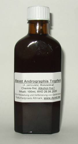 100ml Andrographis paniculata (Bio) Extrakt, Kalmegh Tropfen, Konzentrat - Bild vergrößern